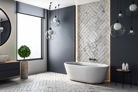 Photo pour Contemporary bathroom interior with city view and copy space on wall. 3D Rendering - image libre de droit