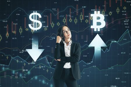 Photo pour Sell and buy concept. Pensive young businesswoman making decision on abstract forex chart grid background - image libre de droit