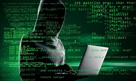 Photo for Coding and hacking concept. Hacker with laptop and abstract coding text on blurry background. Double exposure - Royalty Free Image