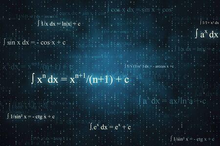 Photo pour Creative glowing mathematical formulas background with equations. Math, algorithm and complex concept. 3D Rendering - image libre de droit