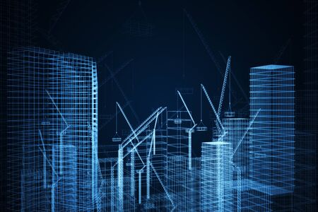 Photo pour Creative digital construction drawing wallpaper with buildings and cranes. Engineering and design cocnept. 3D Rendering - image libre de droit