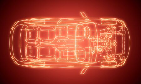 Foto de Creative digital red car design blueprint on gradient background. Engineering and technology concept. 3D Rendering - Imagen libre de derechos