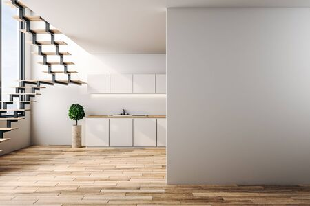 Photo pour Modern loft kitchen interior with copy space on wall, furniture, stairs, city view and sunlight. 3D Rendering - image libre de droit