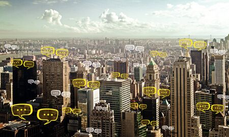 Bright New York city wallpaper with chat windows. Communication, community and network concept. Double exposure