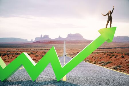 Photo for Happy businesswoman standing on upward green arrow on abstract road and desert background. Growth, development, success and increase concept. - Royalty Free Image