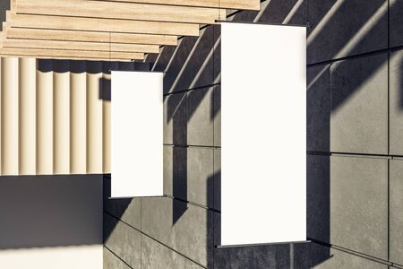 Photo for Creative clean rectangular white stopper banner on building exterior with shadows and sunlight. Advertisement and public concept. Mock up, 3D Rendering - Royalty Free Image