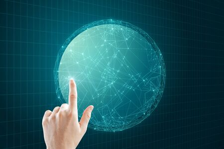 Photo for Hand pointing at creative glowing polygonal globe on dark background. AI and data concept. - Royalty Free Image