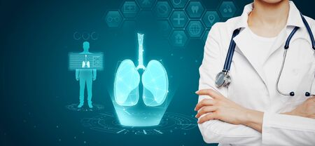 Photo pour Female doctor with abstract glowing blue medical lungs interface background with icons. Medicine and innovation concept. Multiexposure - image libre de droit