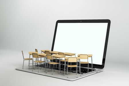 Photo pour Empty white laptop with abstract tiny classroom desktops on grey background. Online education and webinar concept. Mock up, 3D Rendering - image libre de droit