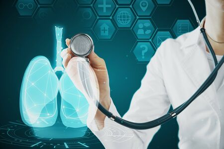 Photo for Female doctor with abstract glowing blue medical lungs interface backdrop with icons. Medicine and innovation concept. Double exposure - Royalty Free Image