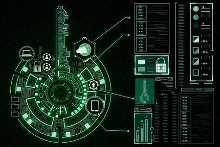 Foto de Creative digital green key interface on dark wallpaper with icons. Access, safety and innovation concept. 3D Rendering - Imagen libre de derechos