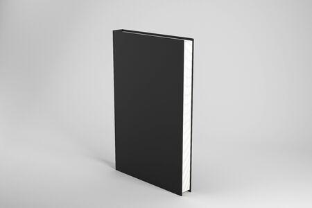 Photo pour Creative closed black hardcover book on subtle background. Publish and advertisement concept. Mock up, 3D Rendering - image libre de droit