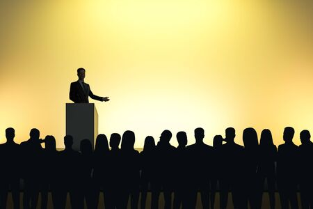 Photo pour Businessman giving speech in front of backlit audience on light yellow background. Speaker and leader concept - image libre de droit