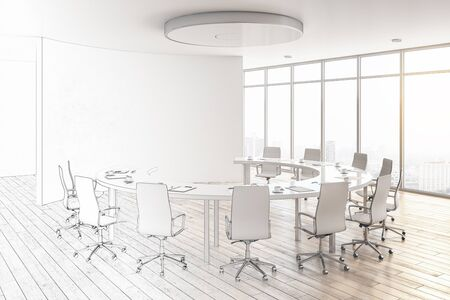 Photo pour Modern hand drawn meeting room interior with city view, copy space and daylight. Workplace design concept. 3D Rendering - image libre de droit
