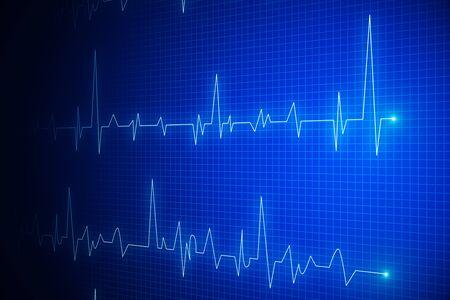 Photo pour Creative glowing heartbeat hologram on blue backdrop. Medicine and cardiology concept. 3D Rendering - image libre de droit