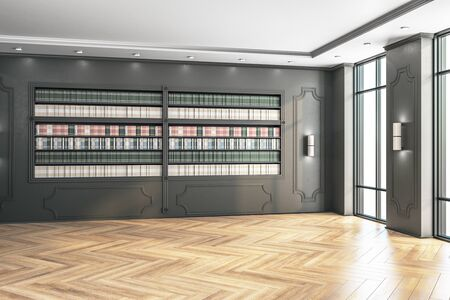 Foto de Modern loft library with bookcase. Business and education concept, 3D rendering - Imagen libre de derechos