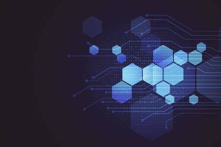 Photo for Abstract digital hexagons background. Technology and science concept. 3D Rendering - Royalty Free Image