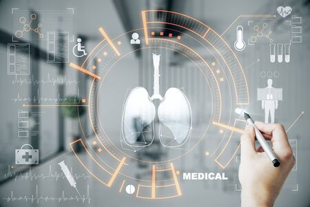 Foto de Medicine and innovation concept. Doctor hand using creative glowing medical interface hud hologram on blurry hospital interior background. Multiexposure - Imagen libre de derechos