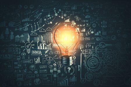 Photo for Glowing light bulb and business sketch on dark wall background. Idea and education concept, 3D Rendering - Royalty Free Image