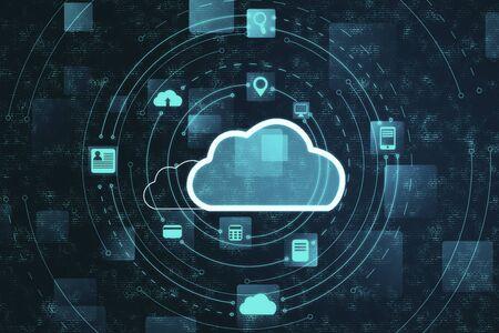 Photo pour Cloud computing diagram. Cloud computing and communication concept. 3D Rendering - image libre de droit