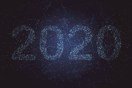 Photo pour Text number 2020 stands out against blue background of binary code. Technology and new year concept. 3D Rendering - image libre de droit