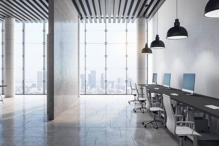 Photo pour Clean room interior with city view and daylight. 3D Rendering - image libre de droit