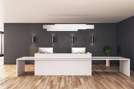 Photo pour Contemporary reception table standing on wooden floor. Mock up, 3D Rendering - image libre de droit