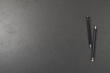Photo pour Office concrete desk table with pen and pencil. Top view with copy space. 3D Rendering - image libre de droit