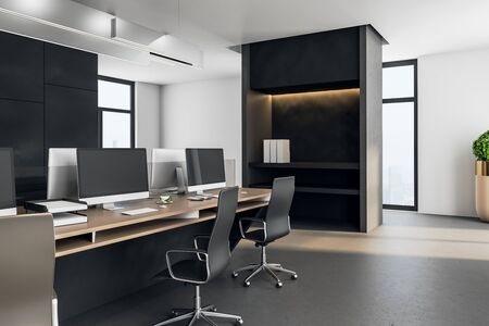 Photo pour Executive workplace in a modern interior. Mock up, 3D Rendering - image libre de droit