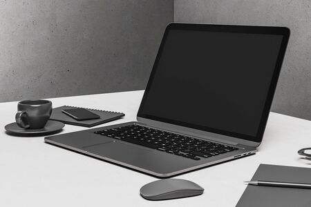 Photo pour Office desk with laptop, smartphone, cup of coffee and supplies. Online advertisement and digital education concept. 3D Rendering - image libre de droit