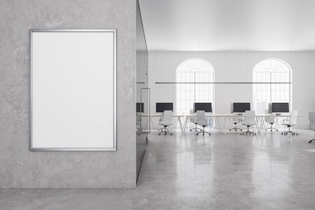 Photo pour Contemporary office in classic interior with  blank billboard on concrete wall. 3D Rendering - image libre de droit