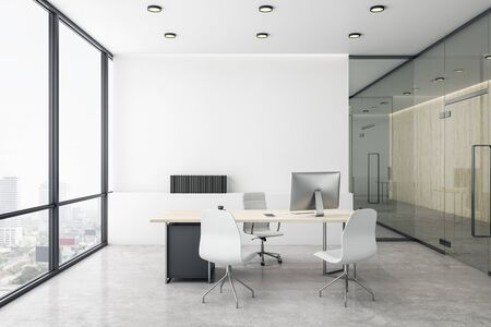 Photo for Luxury director's office with white concrete floor and bright city view. 3D Rendering - Royalty Free Image