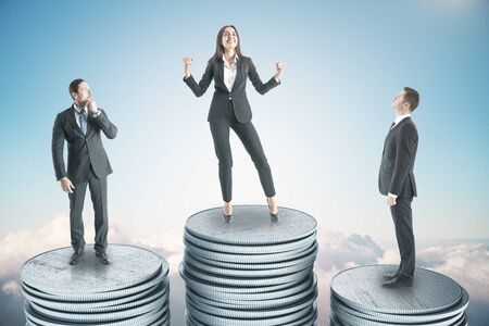 Photo pour Happy businesswoman and businessman standing on silver coin on blue sky background. Finance and success concept. 3D Rendering - image libre de droit