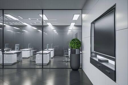 Foto de Contemporary meeting interior room with blank plasma on wall. Business and education concept. Mock up, 3D Rendering - Imagen libre de derechos