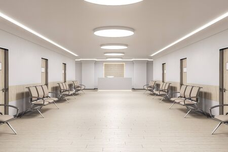 Foto de Waiting room in medical office interior with reception  and chairs. Medical and healthcare concept. 3D Rendering - Imagen libre de derechos