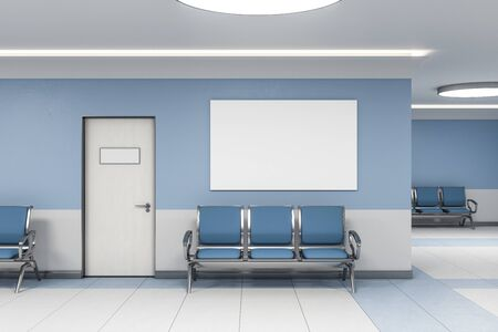 Photo pour Contemporary waiting room in blue medical office interior with chairs and blank poster on wall. Medical and healthcare concept. 3D Rendering - image libre de droit