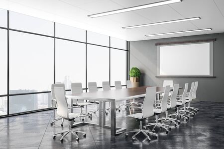 Foto de Modern conference office room with city view and screen for projector on wall. Business presentation concept. 3D Rendering - Imagen libre de derechos