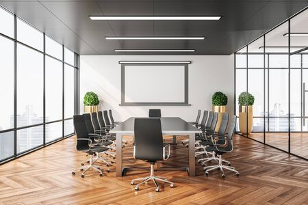 Photo for Empty screen for projector on wall in clean conference room. Business presentation concept. 3D Rendering - Royalty Free Image