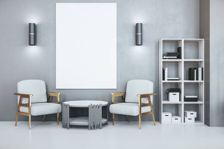 Photo pour Contemporary office waiting room with blank poster on wall, two armchairs and bookcase with folders. Workplace and lifestyle concept. 3d rendering - image libre de droit