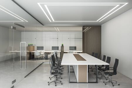 Foto de Contemporary office interior with computers and meeting table. Workplace and lifestyle concept. 3D Rendering - Imagen libre de derechos