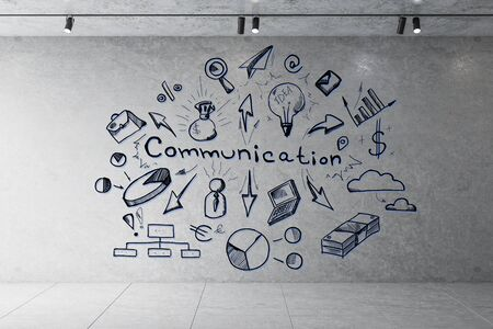 Photo pour Drawing communication plan on wall in interior. Success and communication concept. 3D Rendering - image libre de droit