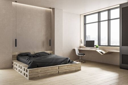 Photo pour Modern bedroom with recycled pallet bed and city view. Design and style concept. Mock up. 3D rendering. - image libre de droit