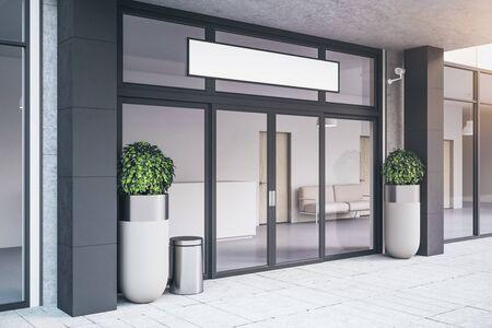 Photo pour Entrance of contemporary office building with plants. Business corporate and company concept. 3d rendering - image libre de droit