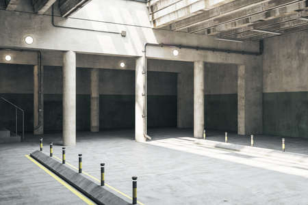 Photo for Concrete parking garage underground interior with columns. Urbanization and transport concept. 3D Rendering - Royalty Free Image