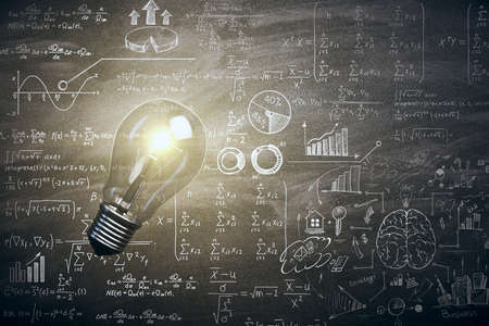 Photo for Illuminated lamp with mathematical formulas. Idea, science and knowlegde concept. 3D Rendering - Royalty Free Image