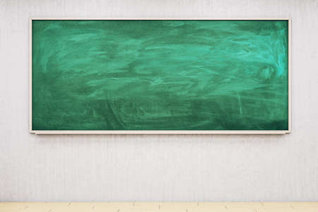 Photo pour Empty green chalkboard in classroom interior. Education and school concept. Mock up, 3D Rendering - image libre de droit