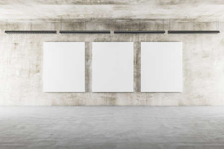 Photo for Exhibition interior with ceiling lamp and three blank banners on concrete wall. Presentation concept. Mock up, 3D Rendering - Royalty Free Image