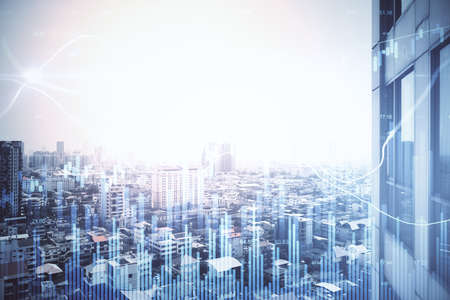 Foto de Growing stock chart with business statistics on blurry city background. Trade and investment concept. Multiexposure - Imagen libre de derechos