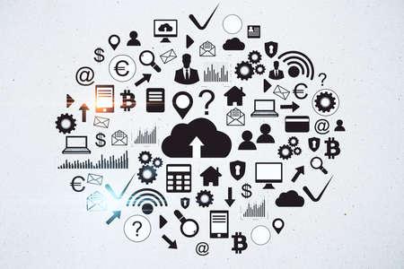 Photo pour Drawing cloud computing diagram on concrete wall. Cloud computing and communication concept. 3D Rendering - image libre de droit