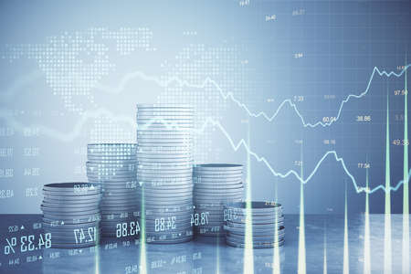 Photo pour Glowing business statistics with digital interface and coin piles. Business and trade concept. 3D Rendering - image libre de droit